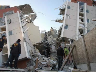 Bei dem Erdbeben zerbrach dieses Haus in Concepción in zwei Teile.