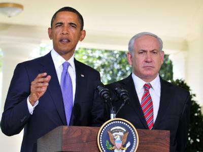 US-Präsident Obama und der israelische Ministerpräsident Netanjahu (r) informieren nach ihrem Gespräch die Presse.
