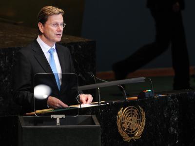 Außenminister Guido Westerwelle (FDP) wirbt auf einer Generalversammlung der Vereinten Nationen für einen dauerhaften deutschen Sitz im UN-Sicherheitsrat.
