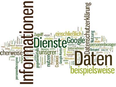Der Screenshot zeigt die Schlüsselbegriffe aus der umstrittenen Datenschutzerklärung von Google, visualisiert mit dem Online-Tool Wordle. Foto: Wordle