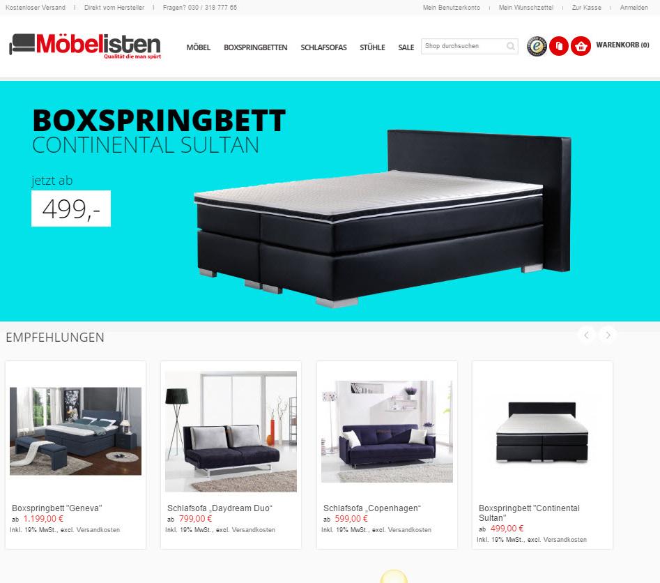 Neue Möbel im Online Shop der Möbelisten