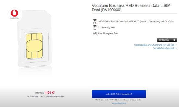 Vodafone Business Red Data L (16GB LTE) für 7,99€/Monat