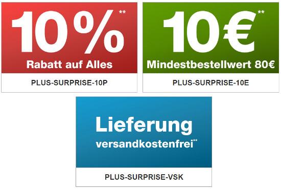 Plus Gutscheine: 10% / 10€ oder Gratis Versand – z.B. ...