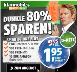 top klarmobil flat 500 vofafone netz mit 100min 100 sms 500 mb f r 1 95 monat 10. Black Bedroom Furniture Sets. Home Design Ideas